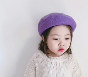 Hot 12 Colors Autumn South Korea Children Baby Hat Beret British Painter Bud Of Pure Wool Cap Korean Tide Newborn Photography Props