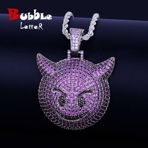 Purple Color Demon Evil Expression Necklace & Pendant With Tennis Chain Bling Zircon Fashion Hip hop Rock Street Jewelry Q1129