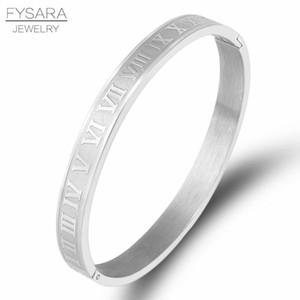 Fysara Men Women Stainless Steel Rose Gold Color Couple Bracelet Roman Numeral Lover Cuff Bracelet Bangle Wedding Jewelry Gift sqcxxv