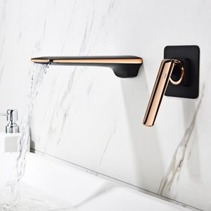 Tuqiu Basin Faucet Rose Gold and Black Bathroom Sink Faucet In-Wall Black Waterfall Tap Basin Mixer Tap Set Combination Blanoir