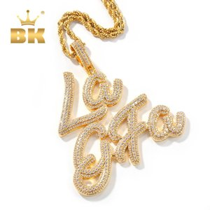 THE BLING KING 2020 New Style Artistic Font Gold LAGFA Words Pendant Necklace Full Iced Out Zirconia Sliver Punk Style Jewelry Q1129