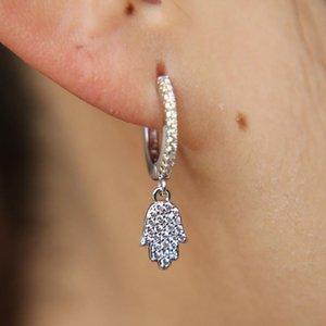 wholesale silver color jewelry classic dangle ear jewelry micro pave clear cz tiny cute hamsa hand fatimas hand charm cz earring
