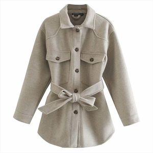 Hadara Casual Turn Down Collar Jackets Women Fashion Gray Pockets Coats Women Elegant Tie Belt Waist Jackets Female Ladies IU