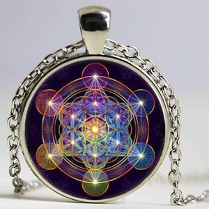 Commercio all'ingrosso Glass Dome Mandala Collana Metatron's Cube Photo Cabochon in vetro Tibet In argento Colore Color Chain Pendant