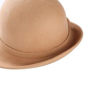 2020 Female Bucket hat Winter Wool Vintage Floral Womens Fedoras Felt Hats Fashion French Bowler Sombrero Wool Hat For women