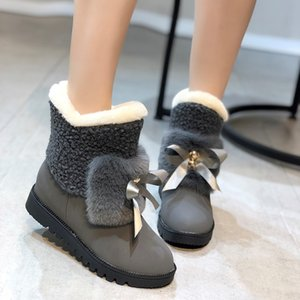 Hot Sale-Women's Snow Boots Women's New Korean Bow Cotton Shoes In Autumn and Winter 2020 Casual Plush Short Boots Women
