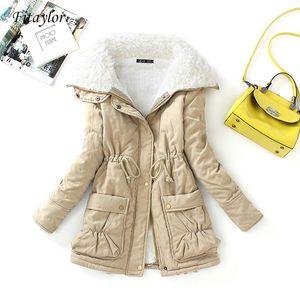 FitAylor Winter Cotton Coat Women Slim Snow Outwear Medium-Long Wadded Chaqueta de algodón grueso acolchado Cálido Parkas