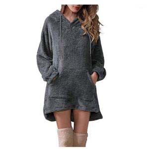 Camisolas femininas Mulheres Sherpa Pulôver Com Capuz Fluffy Fleece Sweater Long Solto Fuzzy Robe Senhoras Plus Size Sweathers1