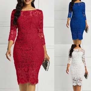 2020 Fashion Elegant Round Neck Lace Women Dress One Shoulder Summer Women's Long Sleeve Party Dress Vestido De Mujer Mujer
