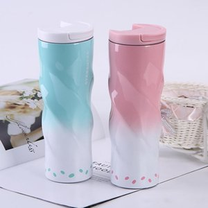 6 color 17 oz skinny tumbler 304 stainless steel insulated cup gradient water cup with lid coffee mug straight cup