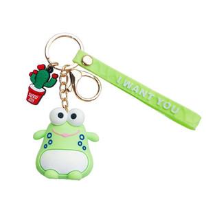 Korean Fashion Hot Selling Drop Glue Cartoon Cute Frog Key Chain Creative Car Key Holder Bag Pendant