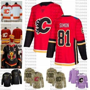 2021 Reverse Retro 사용자 정의 # 81 Dominik Simon Calgary Flames Jerseys Golden Edition Camo Beterans Day 싸움 Cancer Hockey Jersey