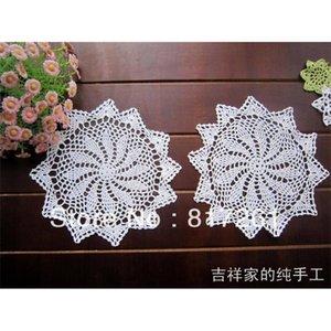 Livraison gratuite 6 Pic / Lot 25 cm 2014 Nouveau Zakka Crochet Dentelle Doise Doise Coaster Vaste Pad Photo Props Décoration de fleurs pour Dinning C1210