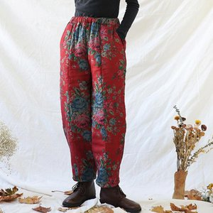 Johnature 2020 Winter Print Floral Plus Cotton Pants Elastic Waist Red Pockets Warm Trouser Loose Female Casual Vintage Pants