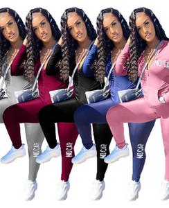 Kadın Tasarımcı Ceket Kıyafetler 2 Parça Set Rahat Spor Uzun Kollu Eşofman Güz Kış Jogger Takım Katı Renk Sweetsuit 3903