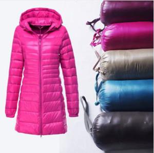 도매 패션 크로스 테두리 여성 의류 가을과 겨울 중간 길이 가벼운 슬림 후드 다운 재킷 S-6XL