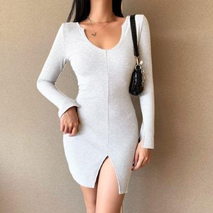 Women Dress Striped Rib Knit Fit Longuette Split Long Sleeve Crew Neck for Female Black White