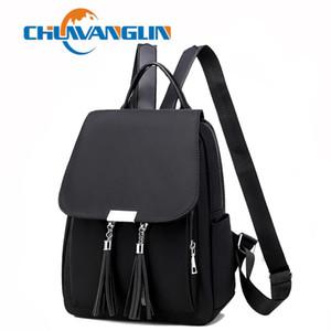 Chuwanglin Rackpack Designer Колледж Нейлон Сплошные Черные Ретро Сумки для школ для подростков Назад Пакет Rucksack Bookbags S40805 A1113