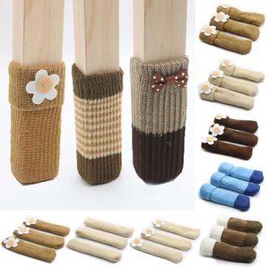 4 unids / lote Silla Calcetines de pierna Paño Protección de suelo Punto de tejer Calcetines de lana antideslizante Mesa de mesa Patas de muebles Funda de manga de pies