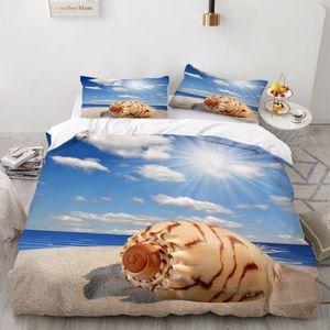 3D Ocean Beach Cover Set 3 Piece Bedding Set Sea Duvet Cover Cartoon Bedding Double Bed Quilt Pillowcase Adult Bed