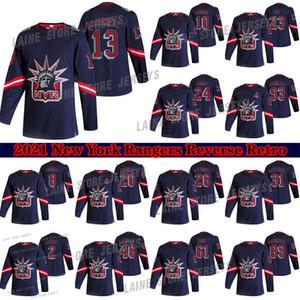 New York Rangers 2021 Reverse Retro Jersey 10 Artemi Panarin 24 KAAPO KAKKO 23 ADAM FOX 13 ALEXIS LAFRENIERE 8 Troubba Hockey Trikots