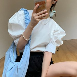 2020 Summer New Korean Chic Sweet Women Shirt Cotton Fashion Casual Blouses Tops Female Puff Sleeve Women Clothing Pullover Tops