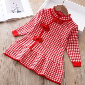 Autumn winter girls' sweater long sleeve dress 2020 Christmas party girl baby retro cheongsam lotus leaf knitted wool dress F1202