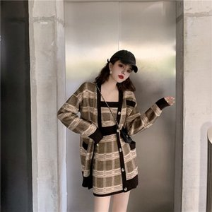 Women's Autumn Winter Plaid Cardigan Sweater Knit Suit New Korean Knit Sweater Camisole A Word Skirt Three-piece Ins Tide ML168 201023