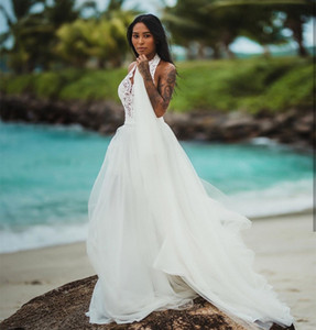 2021 Sexy Beach Wedding dresses Halter vintage floor length simple bridal gown Bohemian chiffon backless Wedding Gowns for women