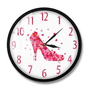 Pink Fashion Wall Art Woman Bedroom Pink Rose Petal Style High Heels Shoe Silent Wall Clock Girly Home Decor Hanging Watch
