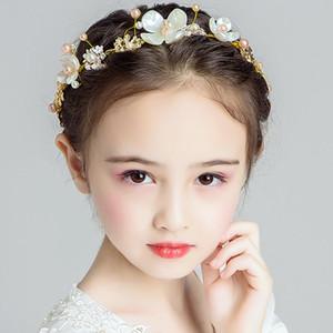New Flower Pearl Tiara Hair Band Kid Girl Bridal Princess Prom Crown Headband Beauty Headwear 2020 New