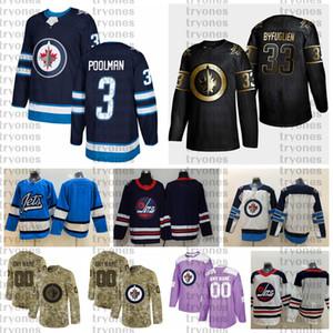 2021 Personalizar # 3 Tucker Poolman Winnipeg Jets Jerseys Golden Edition Camo Veterans Day Fights Cancer Custom Hockey Hockey Jerseys