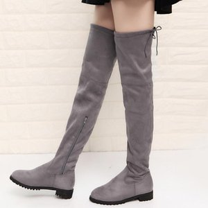 2020 boots size 41 42 43 flat bottomed over knee boots women's leather thigh high flat womens plus size