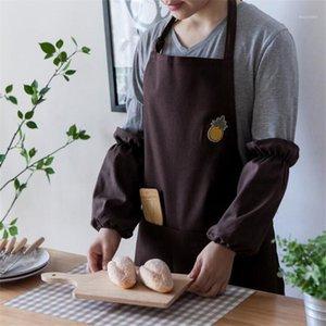 Bordado avental cozinha macacão coffee coffee cintura cintura cintura fêmea