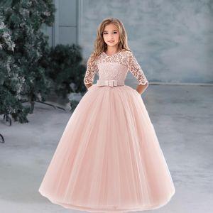 Flower Girl's Birthday Banquet Long Sleeve Lace Dress Elegant Kid's Wedding Long White Dress Children Communion Evening Dress Z1127