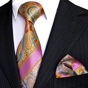 E6 Paisley 줄무늬 여러 가지 빛깔의 오렌지 옐로우 블루 핑크 망 넥타이 넥타이 세트 Hanky 100 % 실크 도매