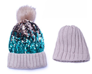 Skull Sequin Knit Hat with Faux Fur Pom-Pom Fashion Hairy Ball Earmuffs Headgear Fashion Christmas Cap Winter Knitted Hat