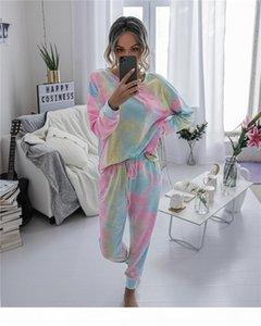 2020 Autumn Winter Womens Long Sleeve Short Pajamas Set Tie Dye Printed Soft Top and Pants PJ Set Nightwear Sleepwear Loungewear