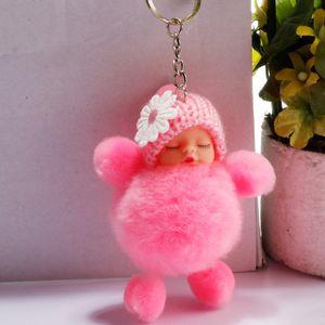 Sleeping Baby Doll Keychain Pompom Rabbit Fur Ball Key Holder Car Keyring Women Holder Bag Pendant Charm Accessory Keyfob Free ps2226