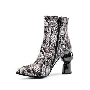 Ботинки мода европейские змеиные кожи странный стиль каблука заостренный носок молния женская обувь круглая печать короткие офисные дамы