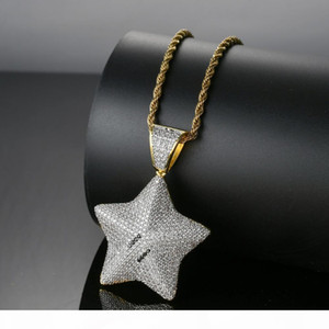 Bling bling Hip Hop Pentagram Pendant Copper Micro pave with CZ stones Necklace Jewelry for men and women CN014