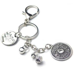 Kettlebell Ağırlık Plaka Dumbbell Anahtarlık Crossfit Vücut Geliştirme Ben Çok Güçlü Charms Anahtar Zincirleri Erkekler Spor Salonu Jewelry1
