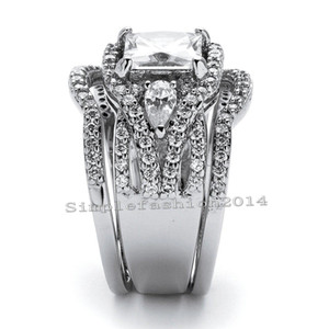 USpecial Victoria Wieck Hot sale Classical Handmade Jewelry 10kt white gold filled CZ Diamond 3PCS Band Wedding women Ring set gift Size5-11