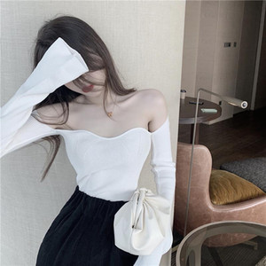 Party Jumper Sexy Club Knitted Sweater Slim Sweater Off Shoulder Collar Black White Female Long Sleeve Autumn Stretch 2021