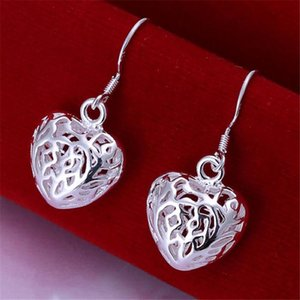 Hot Selling Women Silver Color Earrings Elegant And Beautiful Heart Shaped Fashion Jewelry Valentine's Day Gift E021 H bbyAIx