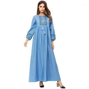 Этническая одежда женская мусульманская джинсовая джинсовая мышивание вышитое свободное платье большого размера Abaya Jubah Ramadan арабский длинный халат исламская молитва 1