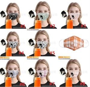 Face Maks Adulti Bambini Bere maschera con foro per la maschera di design di paglia maschera antipolvere maschera di design cotone maschere per la bocca
