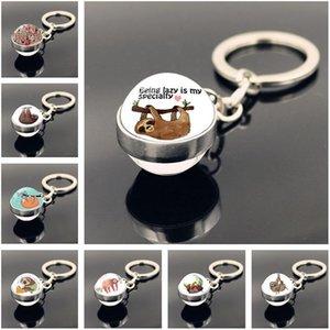 2020 Animal Keychain Jewelry with Cute Sloth Keychain Sweet Sloths Keyring Art Handmade Glass Ball