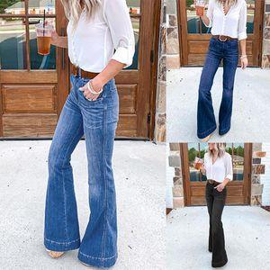 Kadın Kot Moda Streetwear Siyah Mavi Flare Pantolon Yüksekliği Waisted Geniş Bacak Denim Kot Femme Pantalone Kadın Pantolon