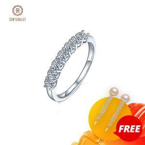 Ballet de la gema 925 Sterling Silver Anillo de Moissanite Jewelry 0.7CT VVS1 Half Eternity Band Moissanite Diamond Body Ring para mujeres Y1124